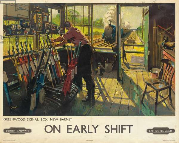 'On Early Shift', a British Railways advertising poster, 1948 (colour lithograph)