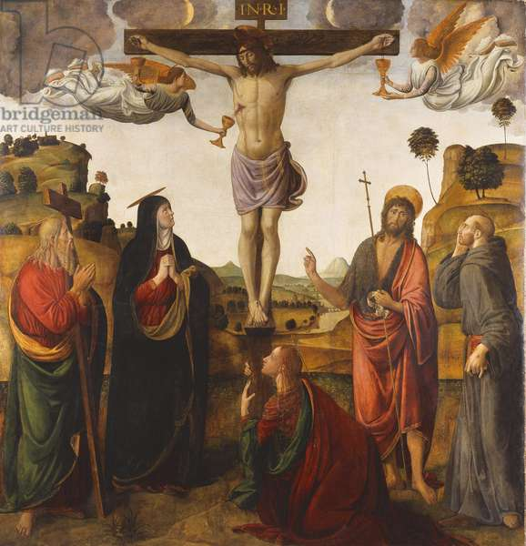 The Crucifixion with the Madonna, Saints John the Baptist, Mary Magdalen, Andrew and Francis, 1503 (oil on panel)
