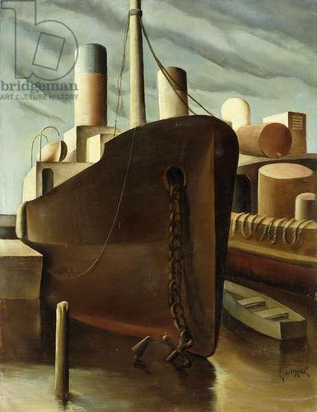 Snug Harbor, 1933 (oil on canvas)