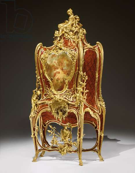 A decorated serre-bijoux, 1889 (ormolu-mounted kingwood, tulipwood, mahogany and lacquer) (see also 362852)