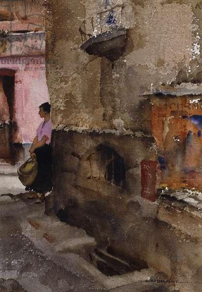 Street Corner, Sospel,  (watercolour and bodycolour)