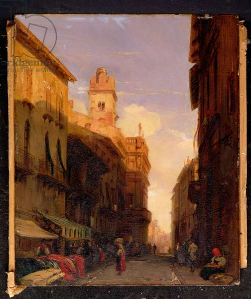 A View of Prince Maffei's Palace, Verona (oil on canvas)