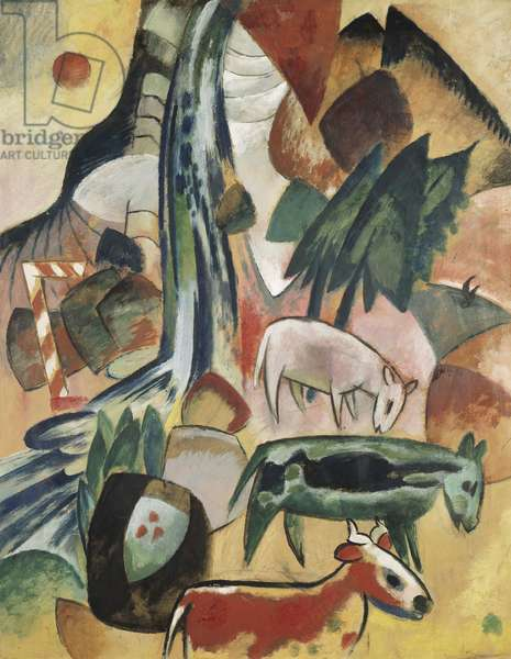 Animals in the Forest; Tiere im Wald, 1912 (oil and gouache on board)