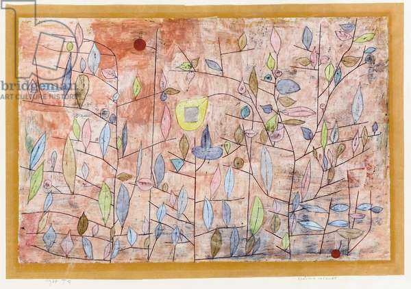 Sparse Foliage; Sparlich Belaubt, 1934 (oil, gouache, watercolour and charcoal on paper, laid down on bo)