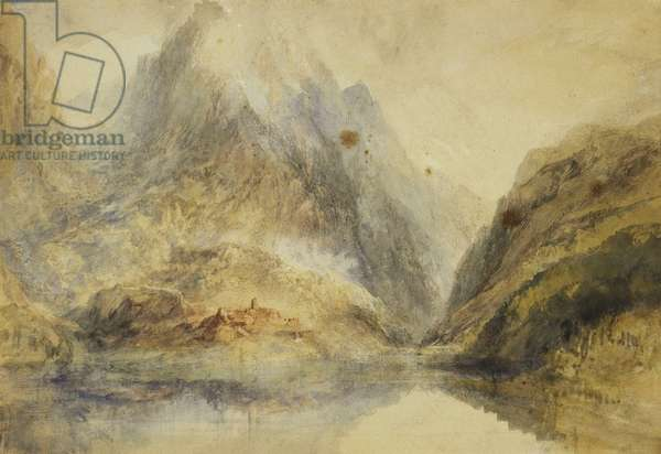 A Swiss Alpine Landscape, c.1843 (pencil and watercolour)