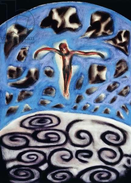 Flying, 1994-95 (coloured chalks on paper)