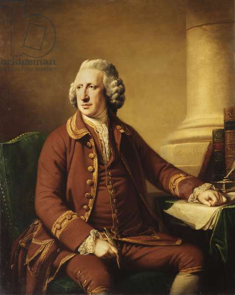 Portrait of Charles Howard (1720-1786), seated in a Brown Suit Trimmed with Gold Braid, 1768 (oil on canvas)