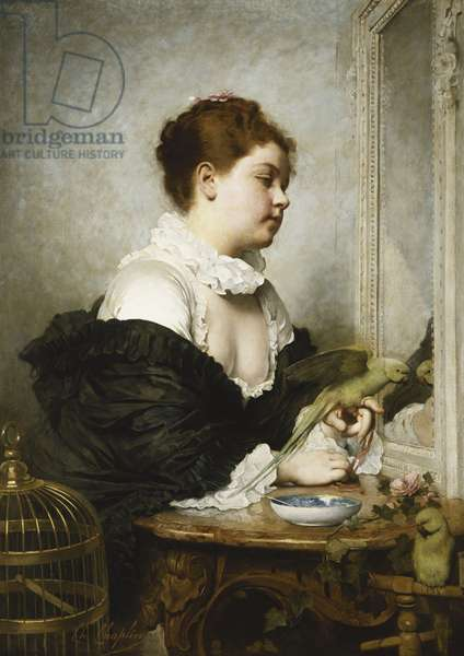 A Young Girl with Parakeets, (oil on canvas)