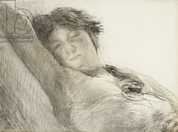 Woman Asleep; Femme Assoupie, 1897 (charcoal and wash on paper)