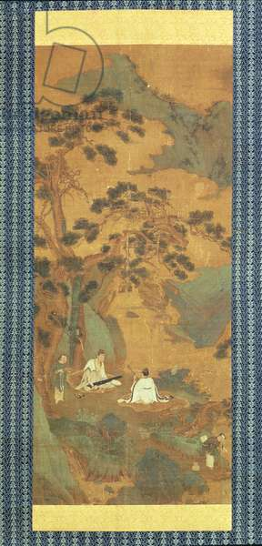 Two Scholars playing the Qin and Erhu under a Pine Tree (ink and colour on silk)