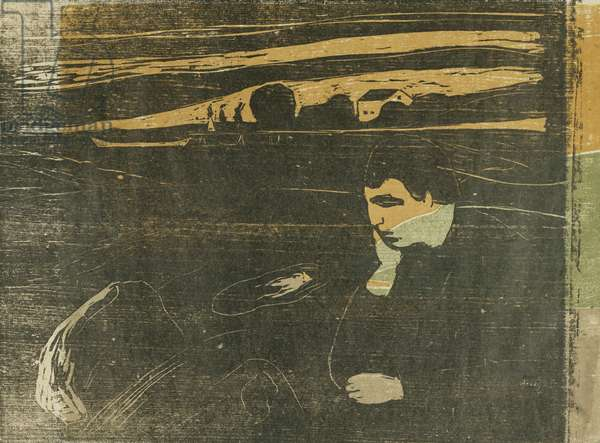 Evening, Melancholy: On the Beach; Abend Melancholie: Am Strand (SCH. 144 B II), 1901 (woodcut printed in four colours)
