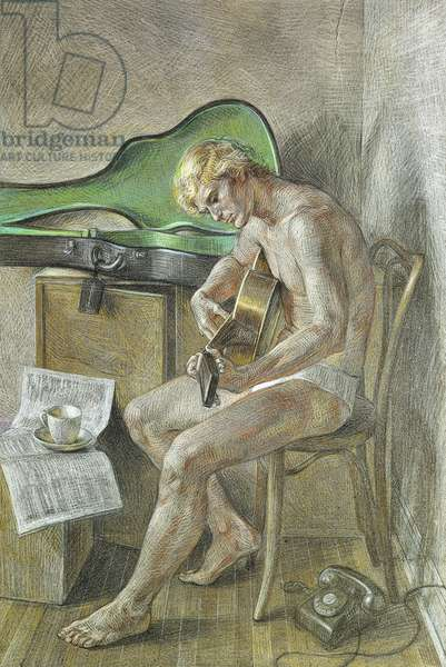 The Guitarist, 1969 (pastel on paper)