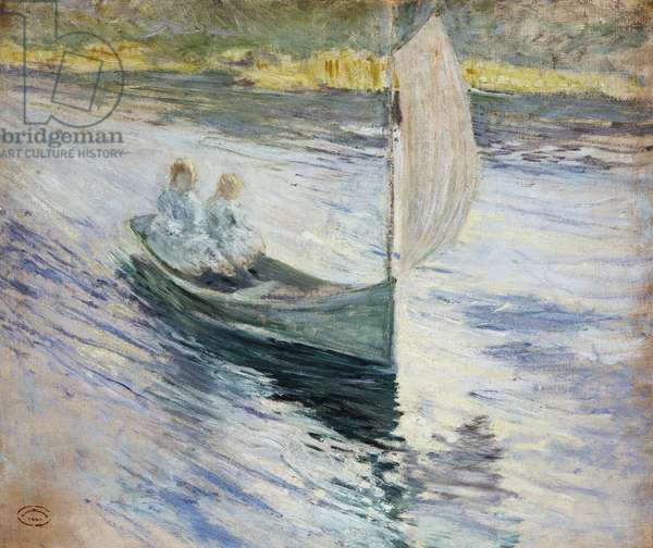 Two Children in a Sailboat, 1883 (oil on canvas)