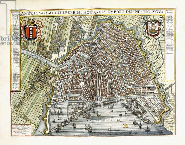 Plan and view of the towns and buildings of Holland and the Low Countries, 1649 (hand-coloured engraving)