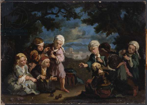 Turkish Children playing Boules in a Clearing (oil on board)