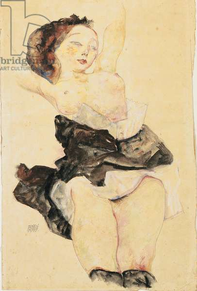 Young girl reclining, half nude, 1912 (w/c & gouache over pencil on paper)