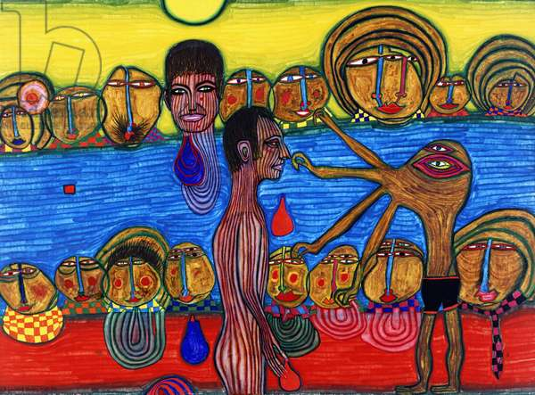 The Meeting in the Deligny Pool; La Rencontre dans la Piscine Deligny, 1966 (mixed media, oil and egg tempera on paper mounted on hemp)