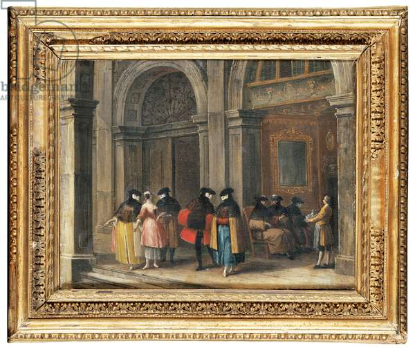 Masked figures taking coffee in the Caffè Florian, Venice (oil on canvas)