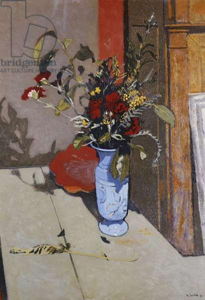 Blue Vase with Red Carnations and Mimosas; Vase Bleu aux Oeillets Rouges et aux Mimosas, 1941 (oil on canvas)