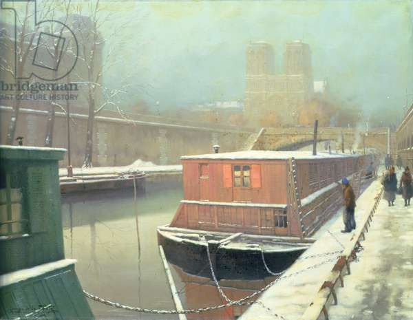 On the Seine in Winter (oil on panel)