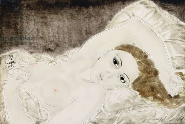 Reclining Nude; Nu couche, 1923 (oil and pen and ink on canvas)