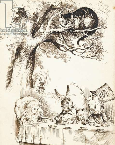 Scene from The Mad Hatter's Tea Party, c.1865 (pen and brown ink)