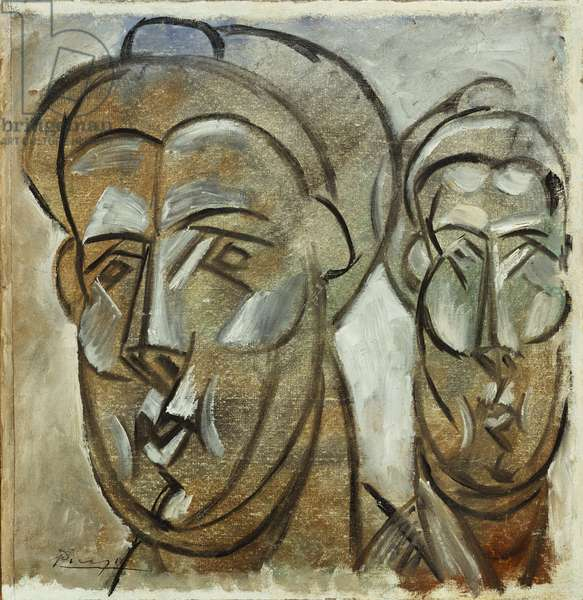 Heads, 1909 (oil on canvas laid down on board)