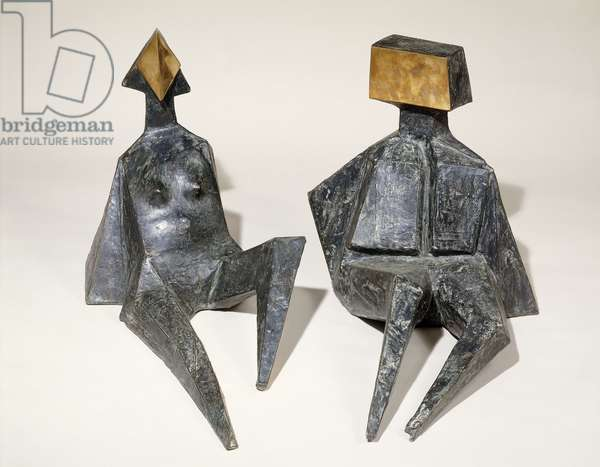 Seated Female and Male Figures, (bronze with grey patina and polished face)