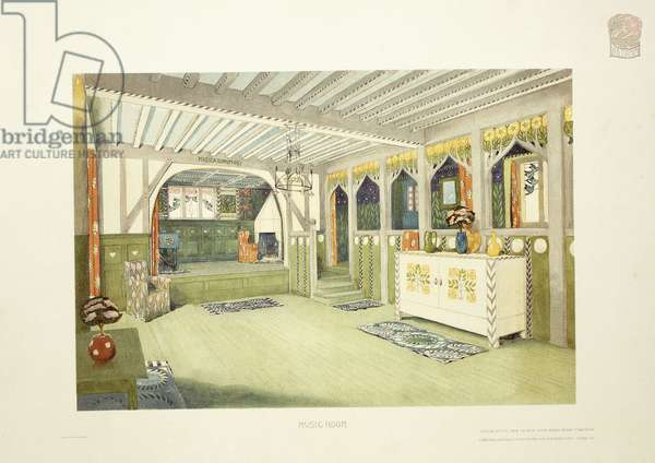Music Room, Isle of Man, c.1901 (colour lithograph)