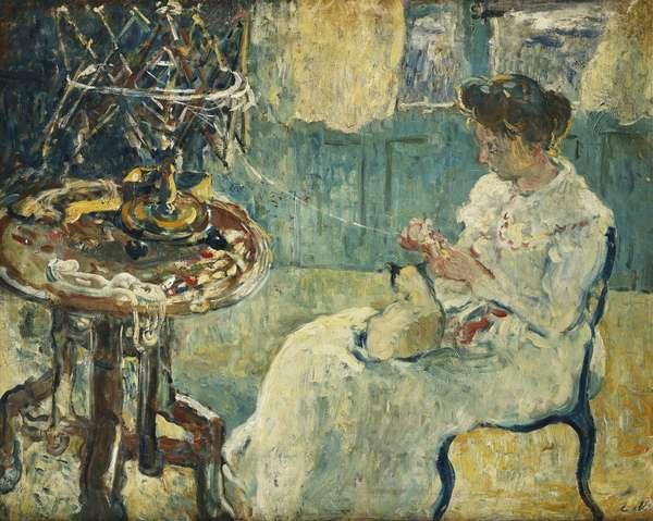 Woman with Reel; Femme au Devidoir, (oil on canvas)