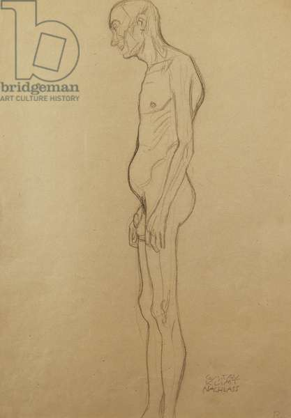 Nude Man; Nackter Man Nach Links, (pencil on paper)