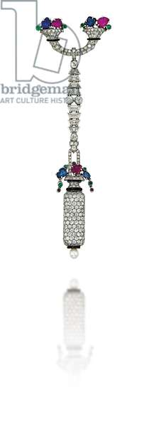 Art Deco lapel watch, c.1925 (diamonds, onyx, sapphires, rubies, emeralds & platinum)
