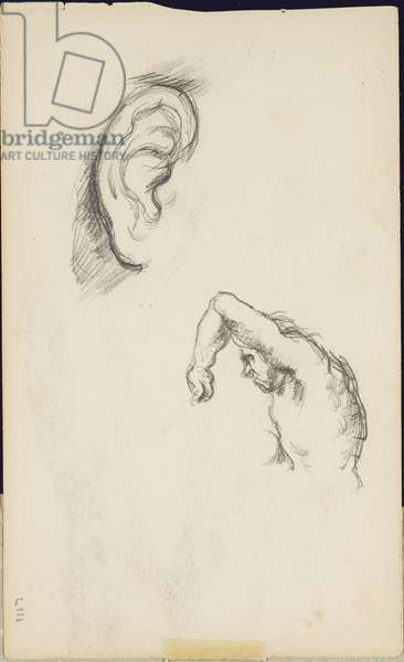 Studies after Luca Signorelli: an ear and a figure of a man, c.1877-80 (pencil on paper)