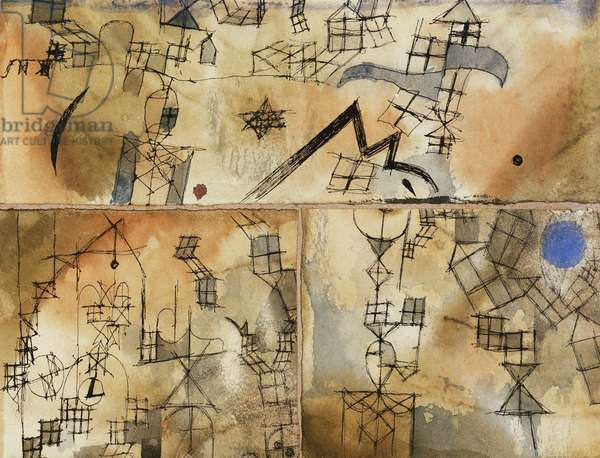 Three-Part Composition; Dreiteilige Komposition, 1918 (watercolour and pen and black ink on paper)