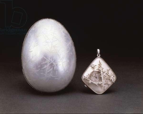 The Nobel Ice Easter Egg, c.1910 (enamel, platinum, seed pearls, rock crystal & diamonds)