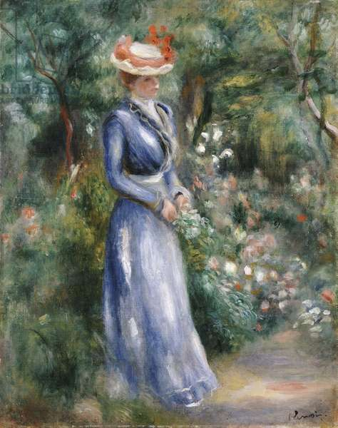 Woman in a Blue Dress Standing in the Garden at Saint-Cloud (oil on canvas)