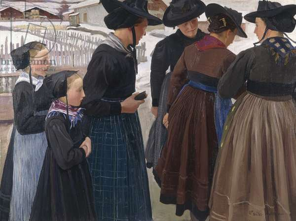 On the Way to Church, 1904 (oil on canvas)
