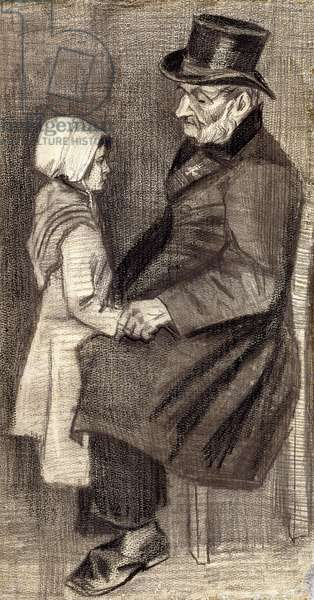 Sitting Man with Little Girl; Homme Assis avec Fillete, 1882 (black chalk and pencil on paper)