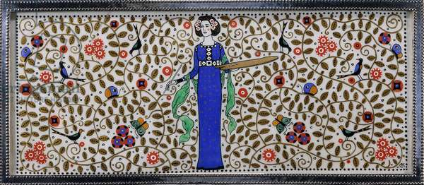 Detail of a Wiener Werkstatte silver and painted casket, the cover depicting a woman with a paintbrush and palette, 1910 (silver, paint)