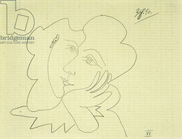 Woman Leaning on her Elbow VI; Femme Accoudee VI, 1950 (pencil on graph paper)