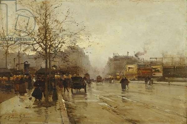 Les Boulevards, Paris, (oil on panel)
