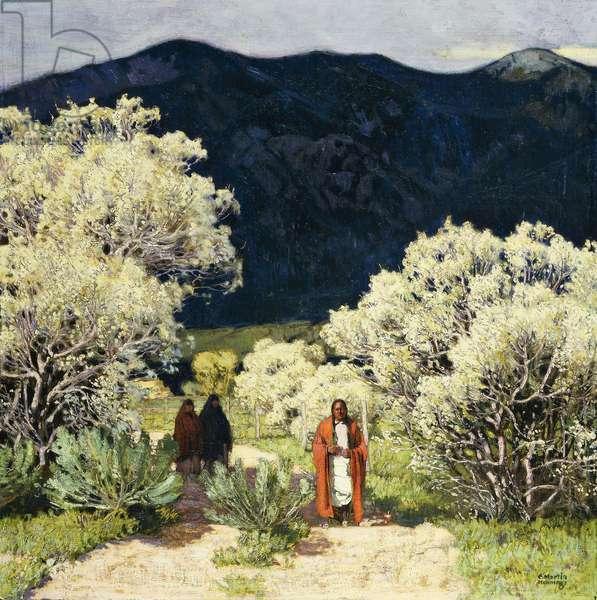 Down a Taos Lane, (oil on canvas)