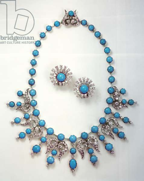 Mid-Victorian turquoise and diamond necklace and earrings