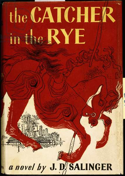 Book cover for J.D. Salinger's 'The Catcher in the Rye', depicting an angry red merry-go-round horse against a black and white cityscape, 1951 (pictorial dust jacket)
