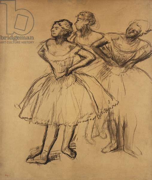 Three Dancers; Trois Danseuses, (charcoal on tan paper laid down on board)