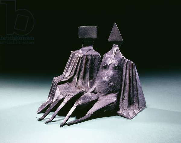 Couple Sitting, 1973 (bronze with grey patina)