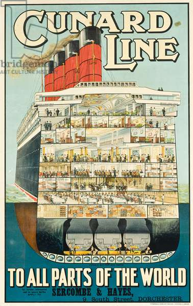 Advertising poster for the shipping company Cunard Line, c. 1914 (colour lithograph)