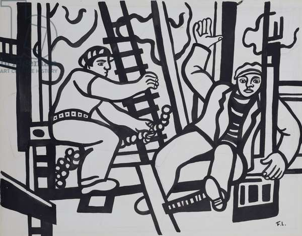Study for 'Two Builders', 1951 (gouache & brush with black ink and pencil on paper)