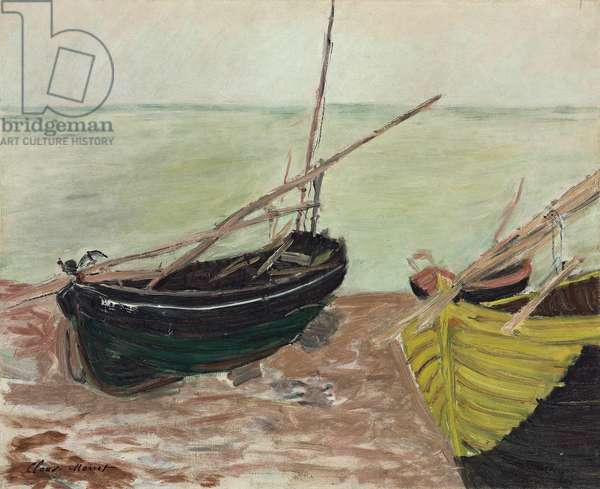 Study of Boats at Etretat Beach; Etude de bateaux sur la plage d'Etretat, 1885 (oil on canvas)