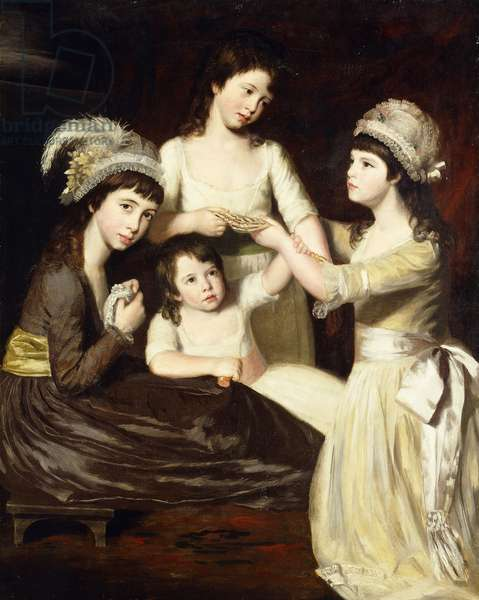 Group Portrait of Mary, Charlotte, Caroline and Eliza, daughters of Christopher and Anne Gullett,  (oil on canvas)